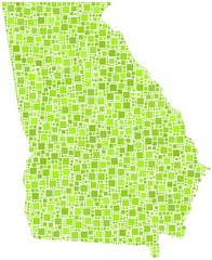 Map of Georgia - USA - in a mosaic of green squares
