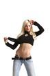 Blonde Frau mit flachem Bauch