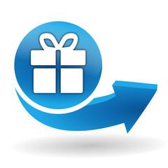 cadeau sur bouton web bleu