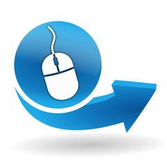 souris, cliquez ici sur bouton web bleu