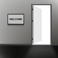 Open Door with welcome text