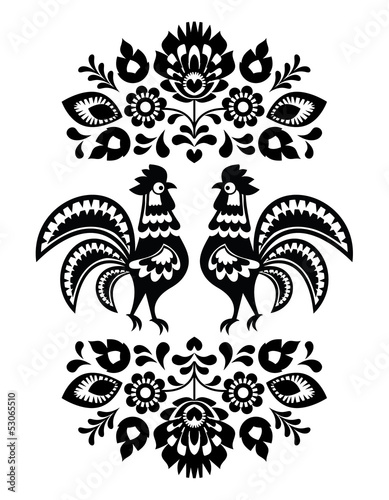 Fototapeta na wymiar Polish ethnic floral embroidery with roosters in black and white