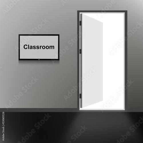 Open Door with Classroom text - 53065526