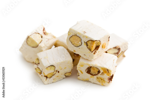 Papiers peints Confiserie white nougat with almonds