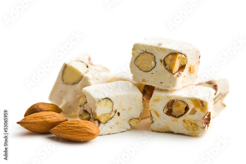 Leinwandbild Motiv white nougat with almonds