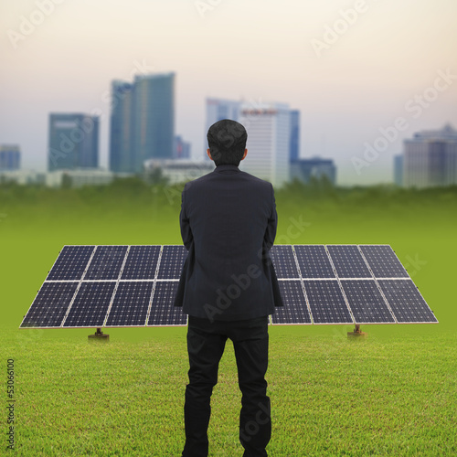 Businessman and Solar energy plants