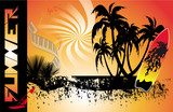 summer background with surfboard poster