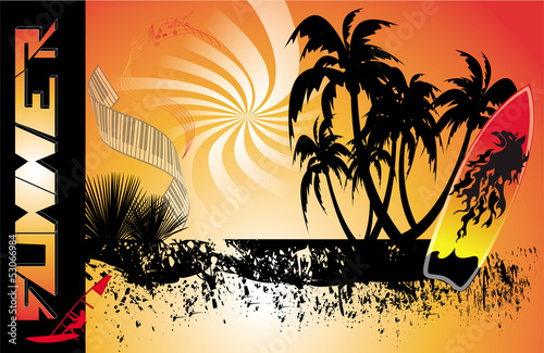 poster of summer background with surfboard