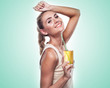 woman with apple juice on white background. Concept vegetarian