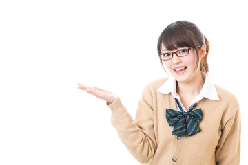 a young asian school girl showing on white background