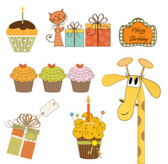 set of cupcake and other bithday items isolated on white backgro