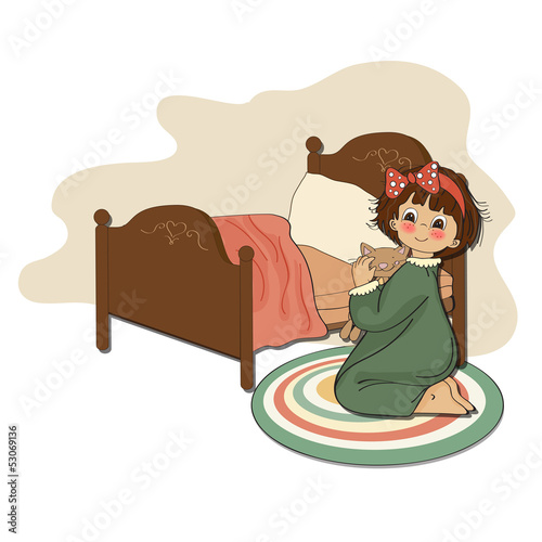 little girl is preparing for sleep