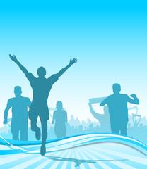 Jogger Laufsport blauer Hintergrund