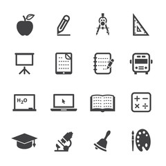 Education Icons with White Background