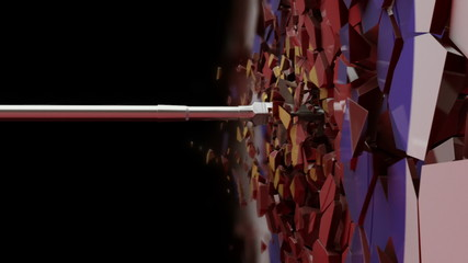 Slow Motion shot of an arrow crushing the target.