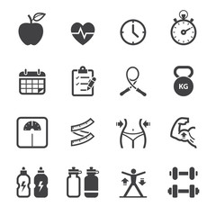Fitness and Health icons with White Background