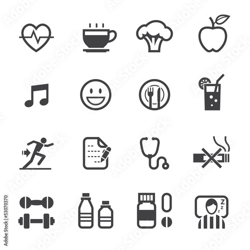 Health and Wellness icons with White Background
