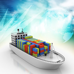 Digital illustration of Container ship