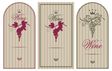 Three vintage labels for wine with grapes