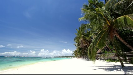 Beach with white sand and turquoise sea, Philippines, Boracay