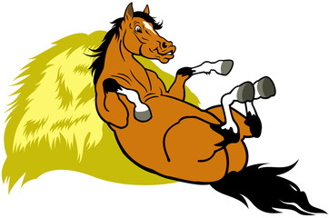 resting cartoon horse