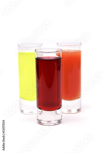 Three glasses with juice