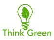 Think green and bulb with leaf
