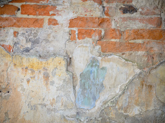 Background of a grungy gray cement wall and bricks