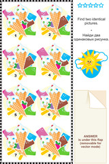 Visual puzzle - find two identical images of ice cream