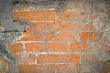 Background texture of an old wall with red bricks