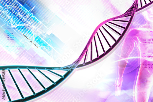 Digital illustration of  DNA in abstract background.