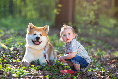 The boy and dog on a glade
