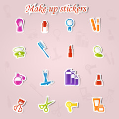 Colorful make up and beauty stickers icon set