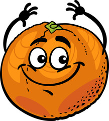 funny orange fruit cartoon illustration