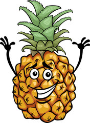 funny pineapple fruit cartoon illustration