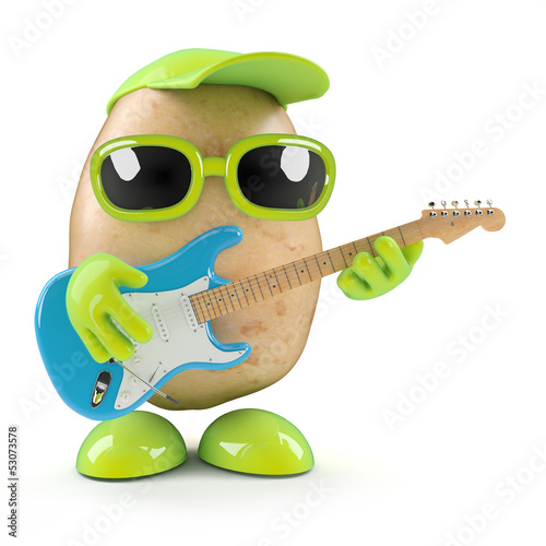 3d Potato strums a tune on his guitar
