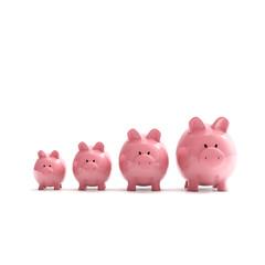 Sparschweine Gruppe - Geldanlage / 3D Illustration