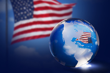 アメリカ国旗と地球