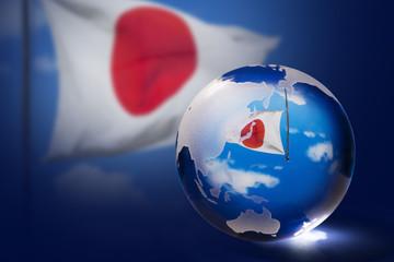 日本国旗と地球