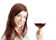 beautiful young woman enjoying wine (white background)