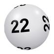 Loto, boule blanche numéro 22