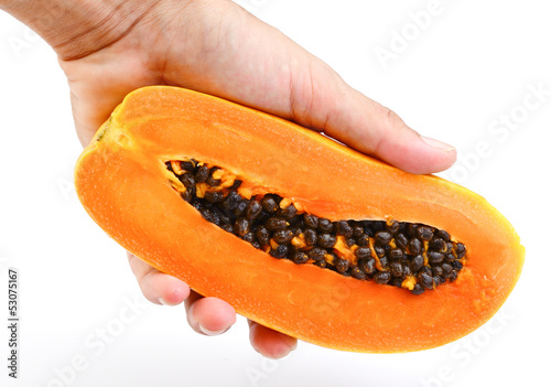 Hand holding Papaya on white background