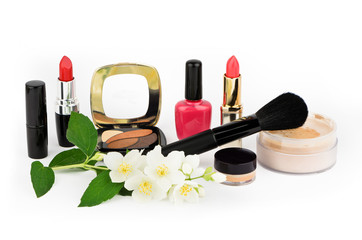 Cosmetic set on white background