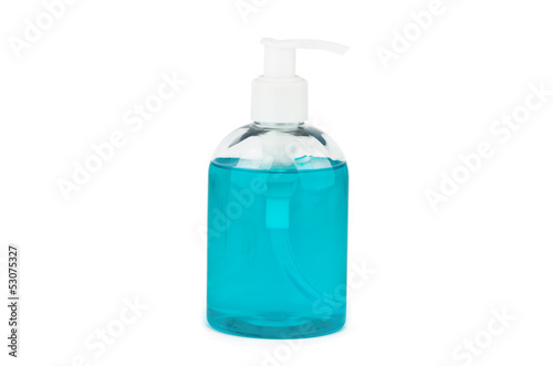 Bottle with turquoise liquid soap