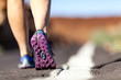 Walking or running legs in mountains, adventure and exercising