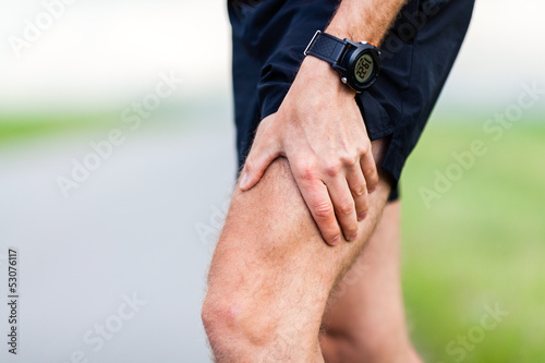 Runner leg pain during training, man injury