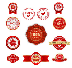 money back guarantee labels and badges set