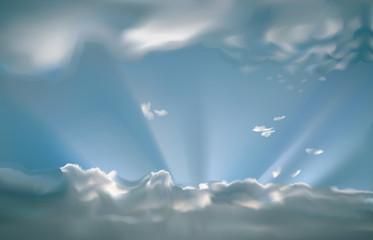 Rayons de soleil transperçant les nuages