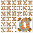 ABC alphabet halloween autumn fall font background