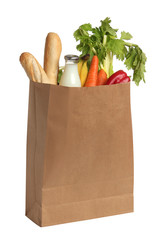 Paper bag with food. White background
